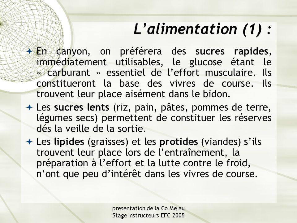 presentation de la Co Me au Stage Instructeurs EFC 2005 L'alimentation (1) :  En canyon, on préférera des sucres rapides, immédiatement utilisables, le glucose étant le « carburant » essentiel de l'effort musculaire.