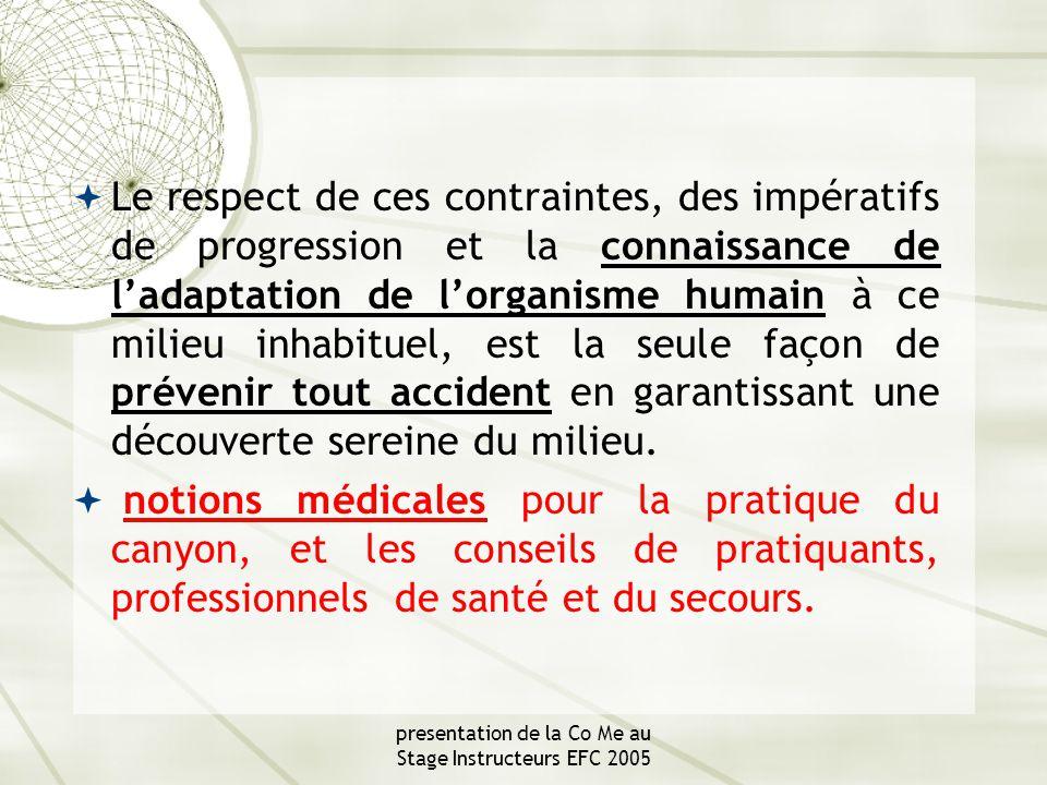 presentation de la Co Me au Stage Instructeurs EFC 2005 II 4 risques lies à l'équipement  Le baudrier  D'autres accidents plus spécifiques à la pratique du canyon peuvent être engendrés par la corde ou le matériel