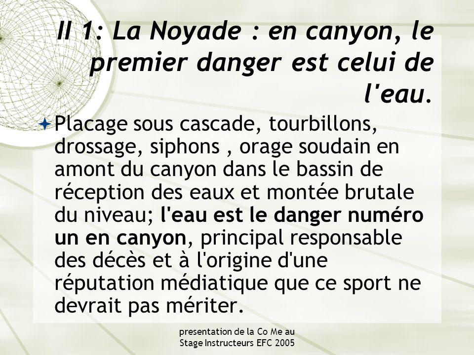 presentation de la Co Me au Stage Instructeurs EFC 2005 II 1: La Noyade : en canyon, le premier danger est celui de l eau.