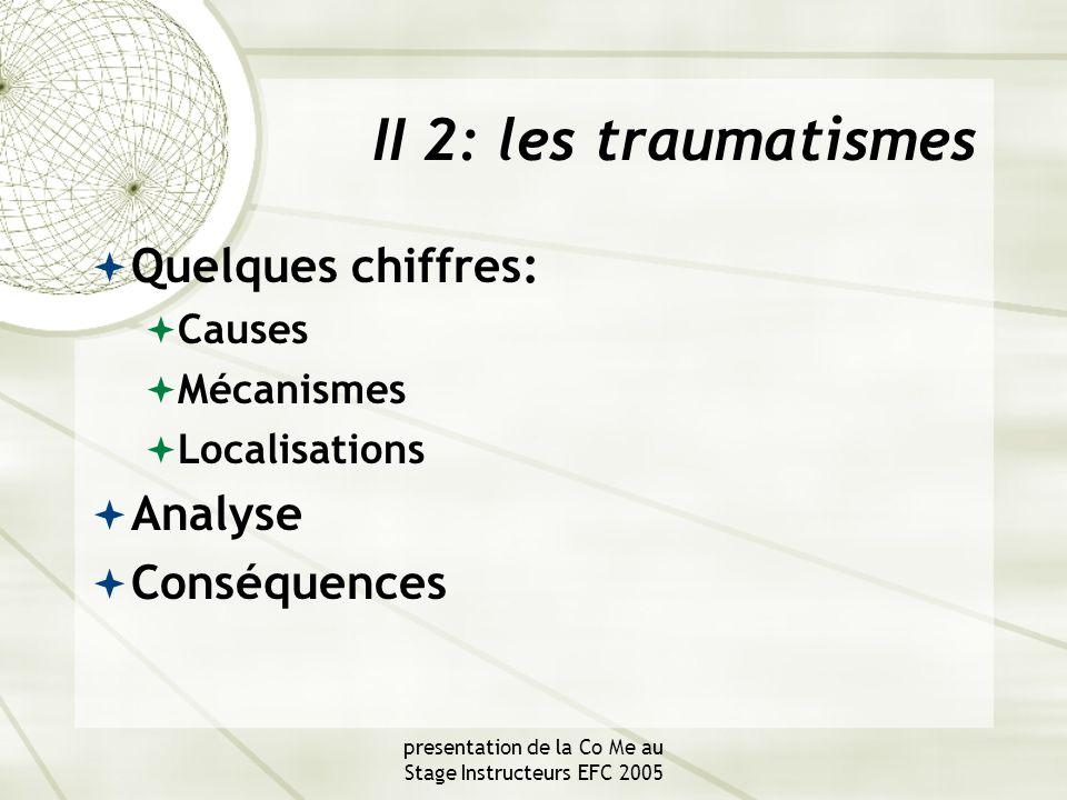 presentation de la Co Me au Stage Instructeurs EFC 2005 II 2: les traumatismes  Quelques chiffres:  Causes  Mécanismes  Localisations  Analyse  Conséquences