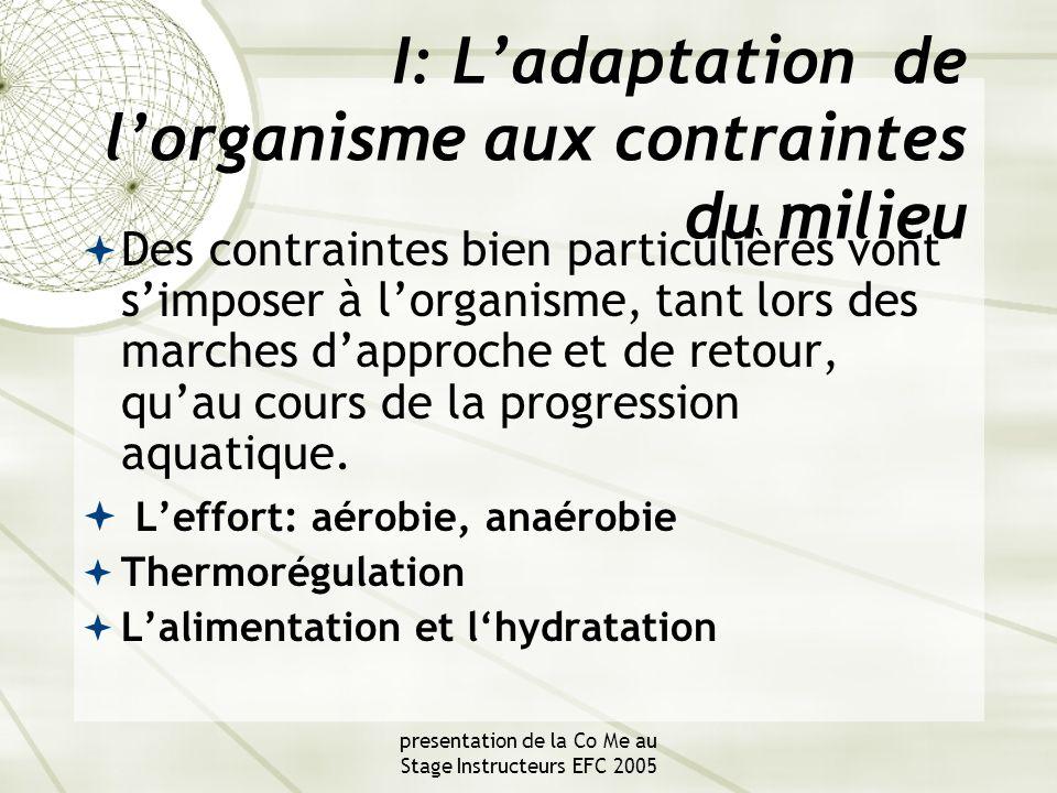 presentation de la Co Me au Stage Instructeurs EFC 2005 I: L'adaptation de l'organisme aux contraintes du milieu  Des contraintes bien particulières vont s'imposer à l'organisme, tant lors des marches d'approche et de retour, qu'au cours de la progression aquatique.