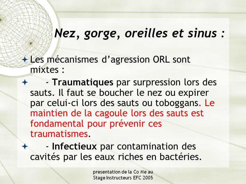 presentation de la Co Me au Stage Instructeurs EFC 2005 Nez, gorge, oreilles et sinus :  Les mécanismes d'agression ORL sont mixtes :  - Traumatiques par surpression lors des sauts.
