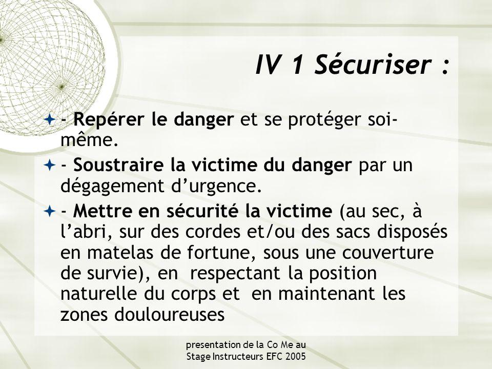 presentation de la Co Me au Stage Instructeurs EFC 2005 IV 1 Sécuriser :  - Repérer le danger et se protéger soi- même.