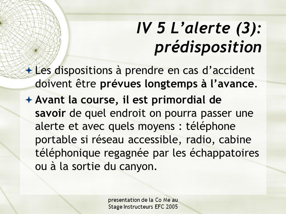 presentation de la Co Me au Stage Instructeurs EFC 2005 IV 5 L'alerte (3): prédisposition  Les dispositions à prendre en cas d'accident doivent être prévues longtemps à l'avance.