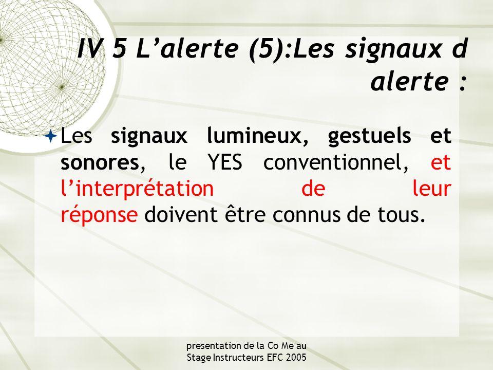 presentation de la Co Me au Stage Instructeurs EFC 2005 IV 5 L'alerte (5):Les signaux d alerte :  Les signaux lumineux, gestuels et sonores, le YES conventionnel, et l'interprétation de leur réponse doivent être connus de tous.