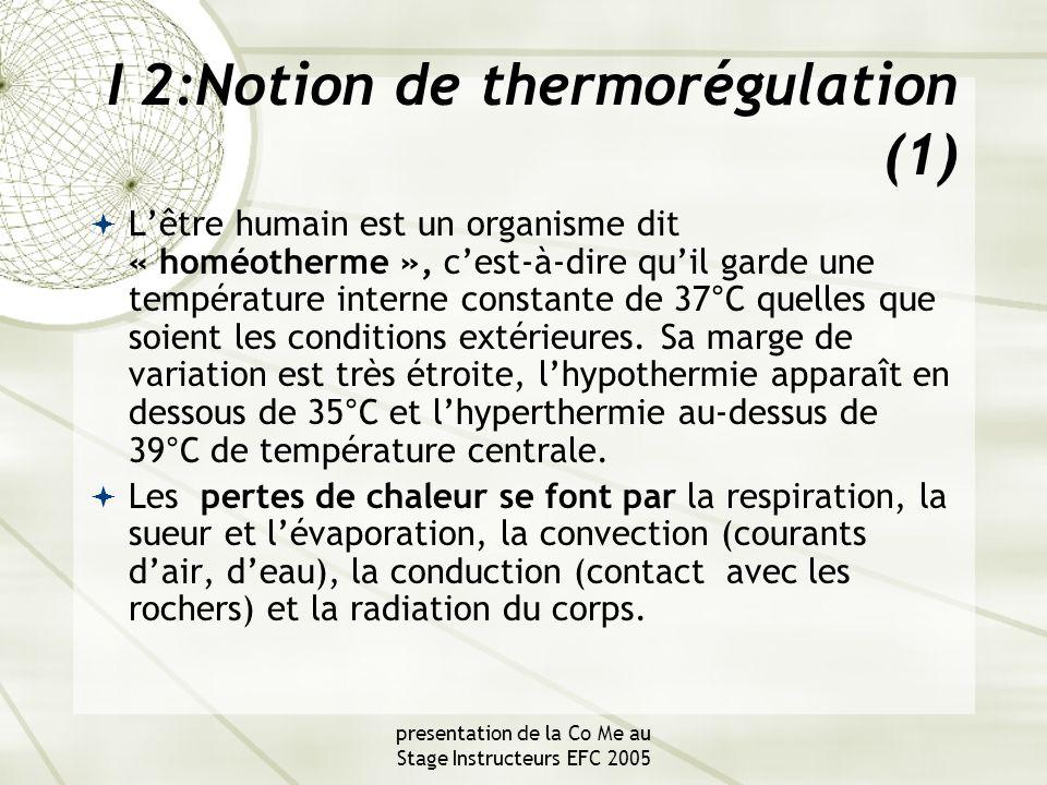 presentation de la Co Me au Stage Instructeurs EFC 2005 Notion de thermorégulation (2)  Le port d'une combinaison complète avec cagoule, en bon état et bien ajustée, est impératif, limitant ainsi les entrées et sorties d'eau et réduisant les pertes caloriques.