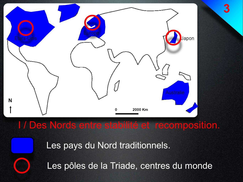 3 I / Des Nords entre stabilité et recomposition. Les pays du Nord traditionnels. Les pôles de la Triade, centres du monde Etats-Unis Europe Japon Aus