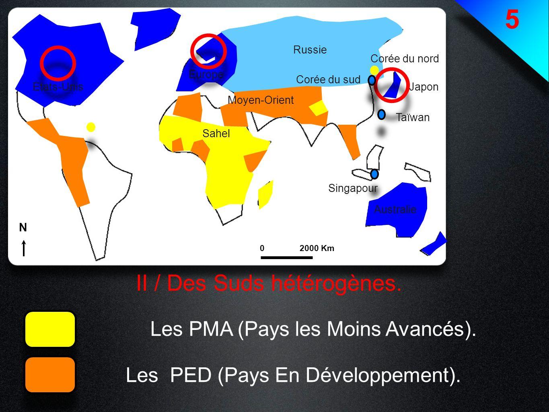 5 II / Des Suds hétérogènes. Les PMA (Pays les Moins Avancés). Les PED (Pays En Développement). Etats-Unis Europe Japon Australie Russie Singapour Taï