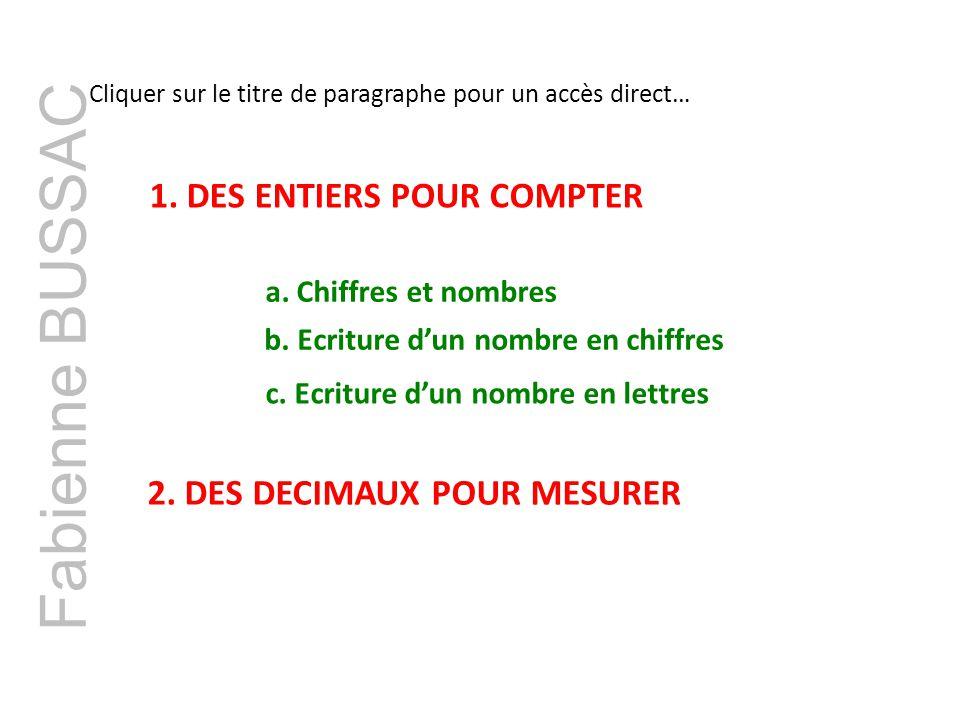 1.DES ENTIERS POUR COMPTER 2.
