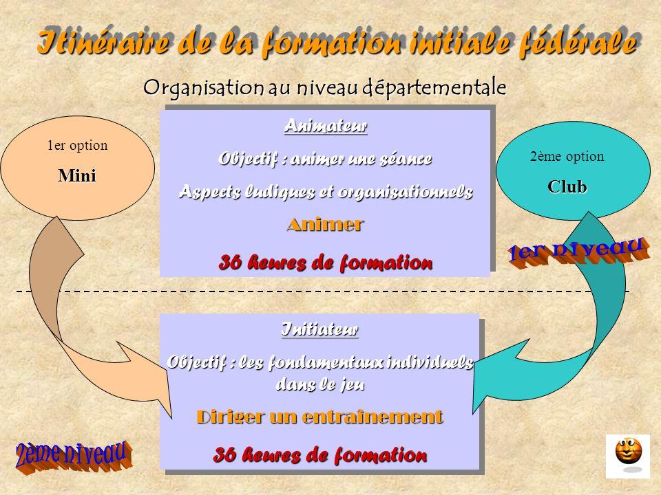 Itinéraire de la formation initiale fédérale Organisation au niveau départementale Animateur Objectif : animer une séance Aspects ludiques et organisa