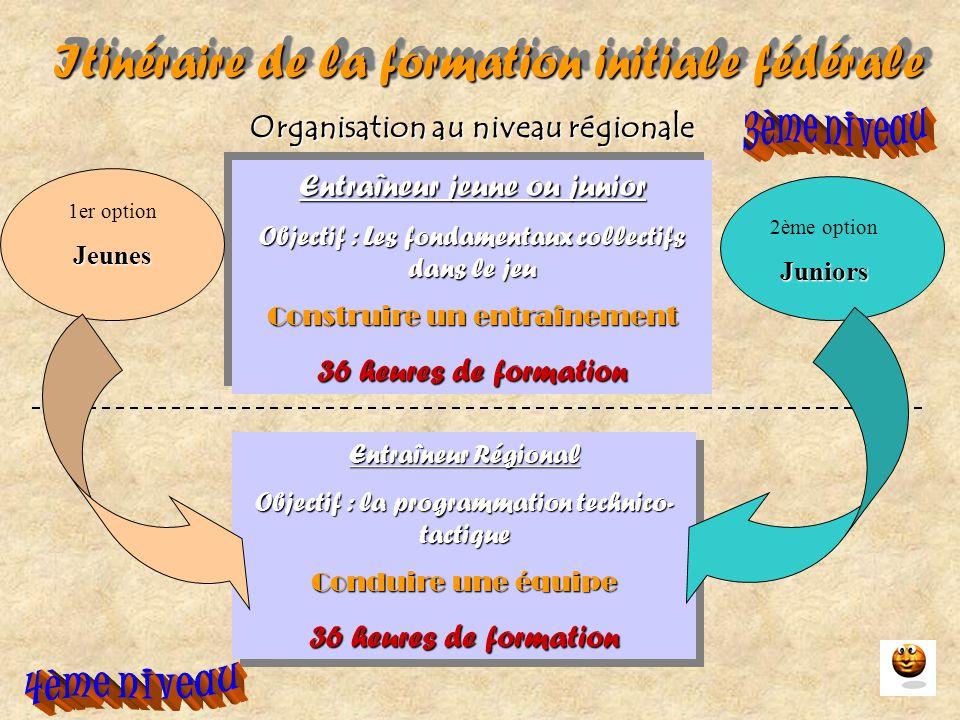 Itinéraire de la formation initiale fédérale Organisation au niveau régionale Entraîneur jeune ou junior Objectif : Les fondamentaux collectifs dans l