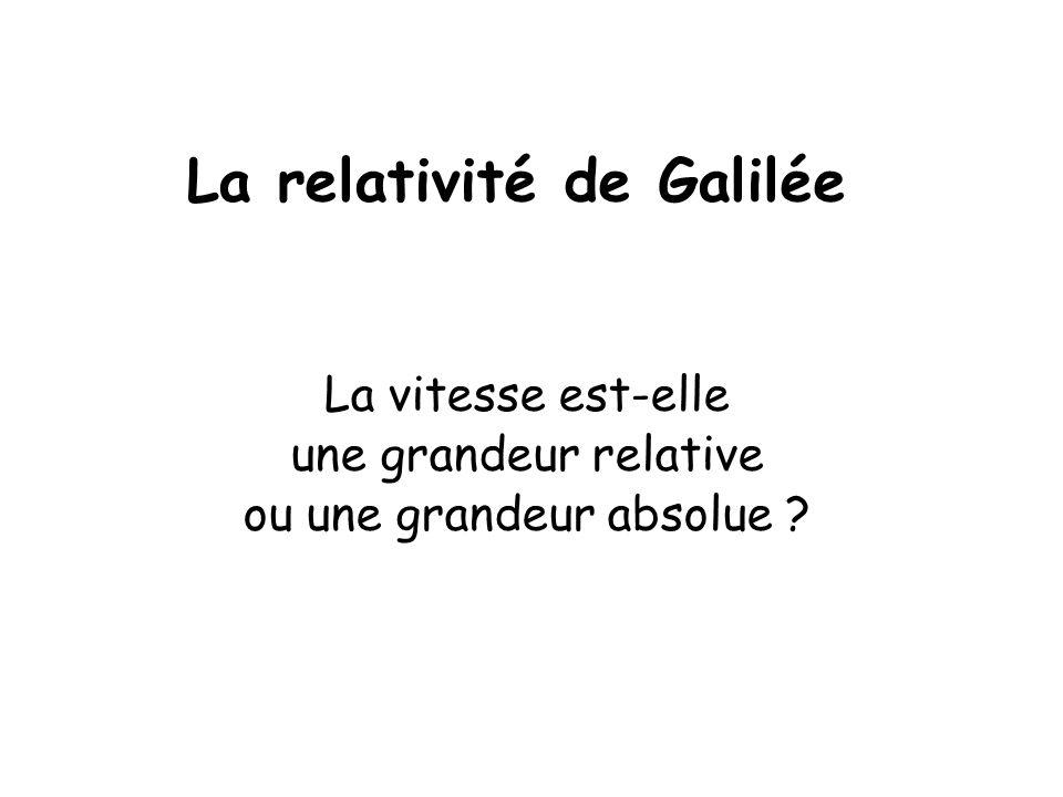 La relativité de Galilée La vitesse est-elle une grandeur relative ou une grandeur absolue ?