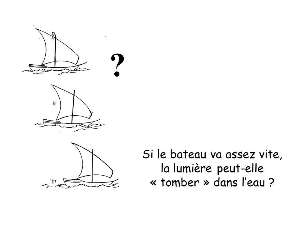 Si le bateau va assez vite, la lumière peut-elle « tomber » dans l'eau ? ?