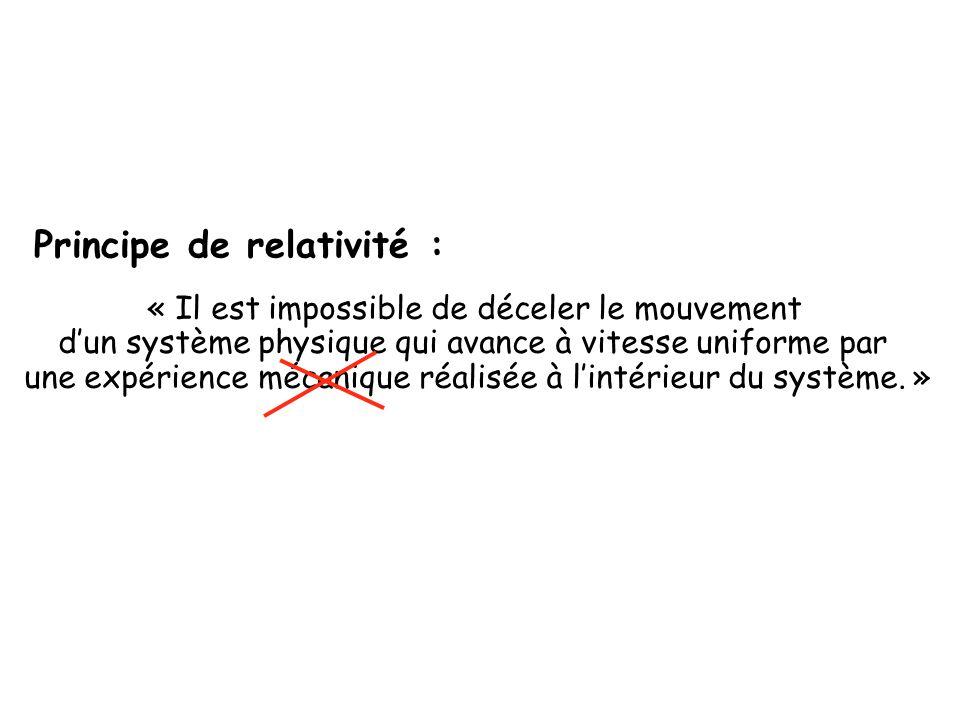 Principe de relativité : « Il est impossible de déceler le mouvement d'un système physique qui avance à vitesse uniforme par une expérience mécanique