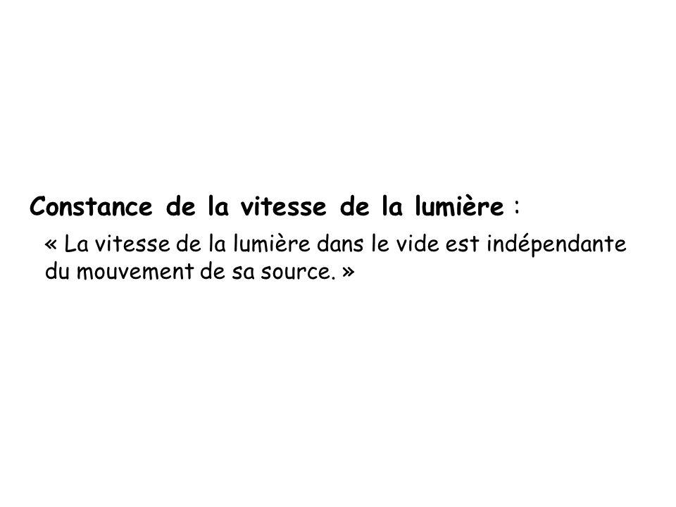 Constance de la vitesse de la lumière : « La vitesse de la lumière dans le vide est indépendante du mouvement de sa source. »