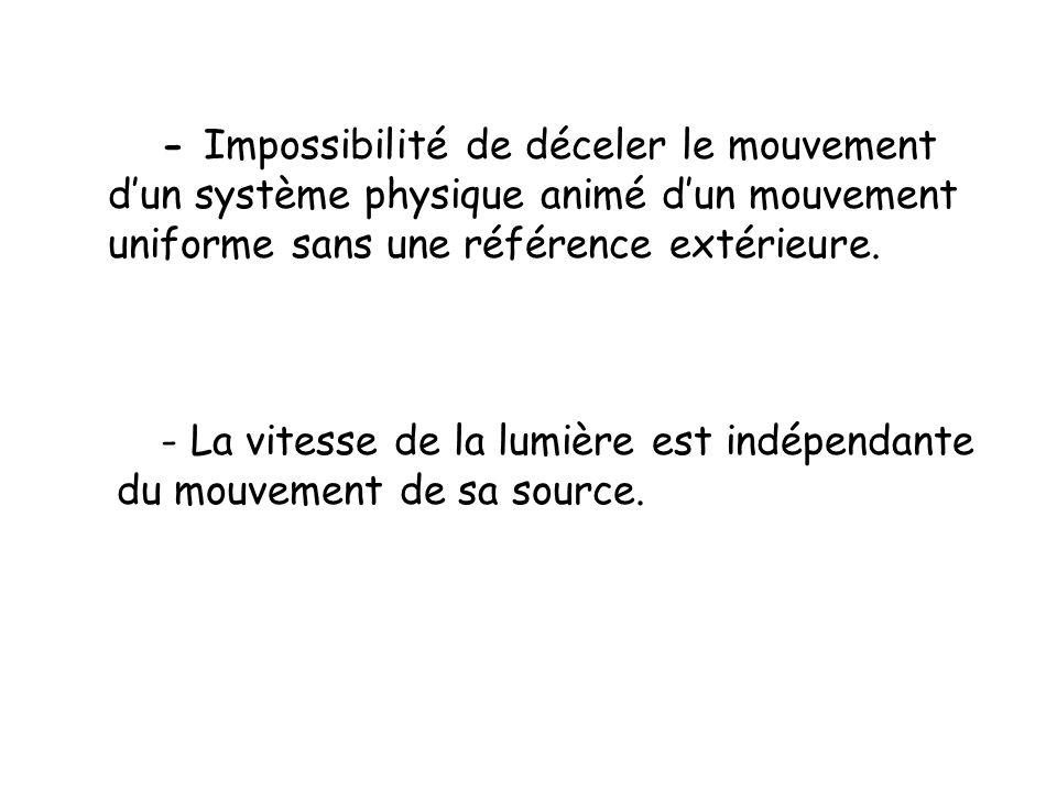 - Impossibilité de déceler le mouvement d'un système physique animé d'un mouvement uniforme sans une référence extérieure. - La vitesse de la lumière