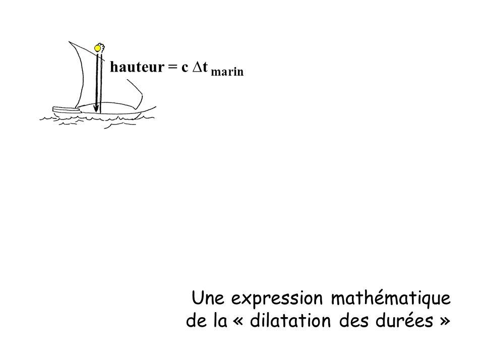 hauteur = c ∆t marin Une expression mathématique de la « dilatation des durées »