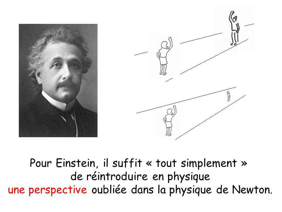 Pour Einstein, il suffit « tout simplement » de réintroduire en physique une perspective oubliée dans la physique de Newton.