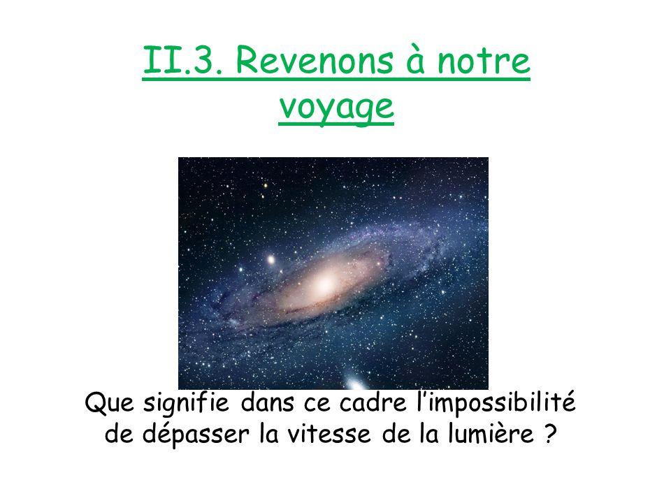 II.3. Revenons à notre voyage Que signifie dans ce cadre l'impossibilité de dépasser la vitesse de la lumière ?