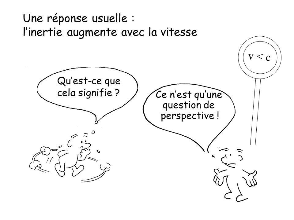 v < c Une réponse usuelle : l'inertie augmente avec la vitesse Qu'est-ce que cela signifie ? Ce n'est qu'une question de perspective !