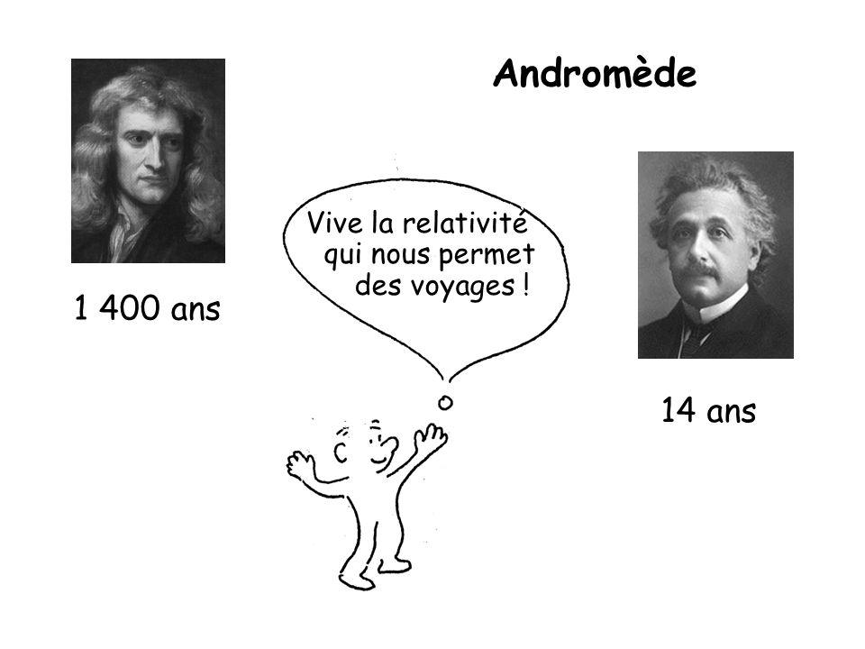 1 400 ans 14 ans Vive la relativité qui nous permet des voyages ! Andromède