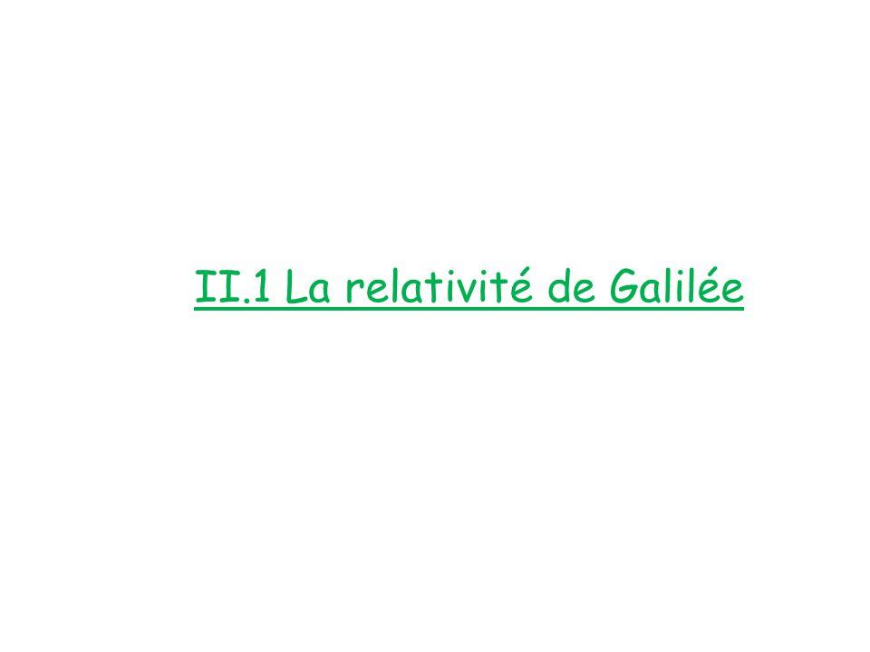 II.1 La relativité de Galilée