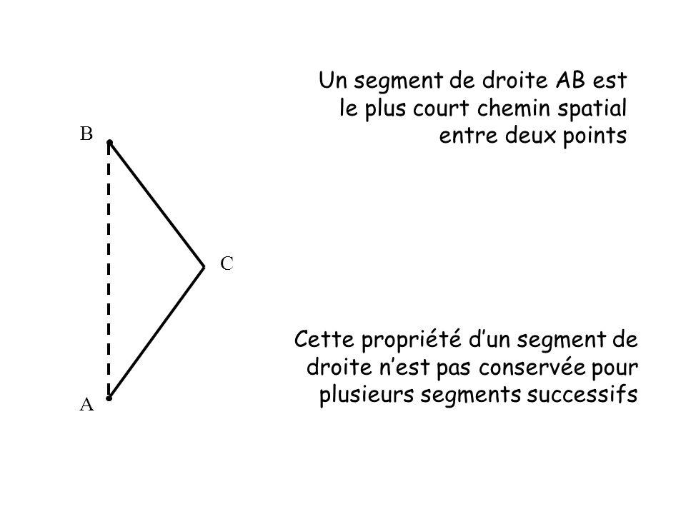 Un segment de droite AB est le plus court chemin spatial entre deux points A C B Cette propriété d'un segment de droite n'est pas conservée pour plusi