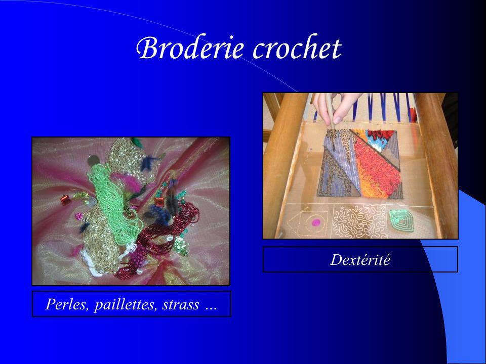 Broderie crochet Perles, paillettes, strass …Dextérité