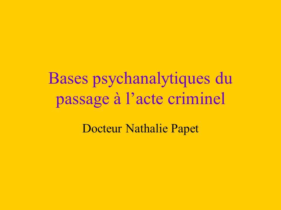 Bases psychanalytiques du passage à l'acte criminel Docteur Nathalie Papet