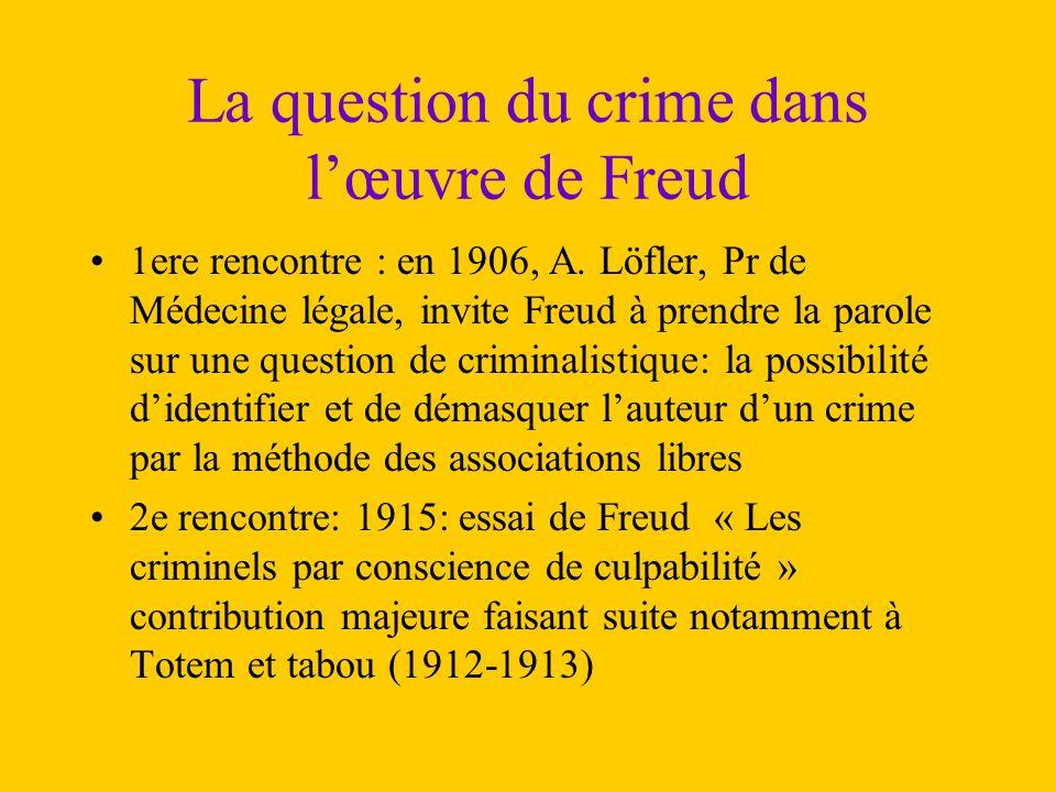 La question du crime dans l'œuvre de Freud 1ere rencontre : en 1906, A. Löfler, Pr de Médecine légale, invite Freud à prendre la parole sur une questi