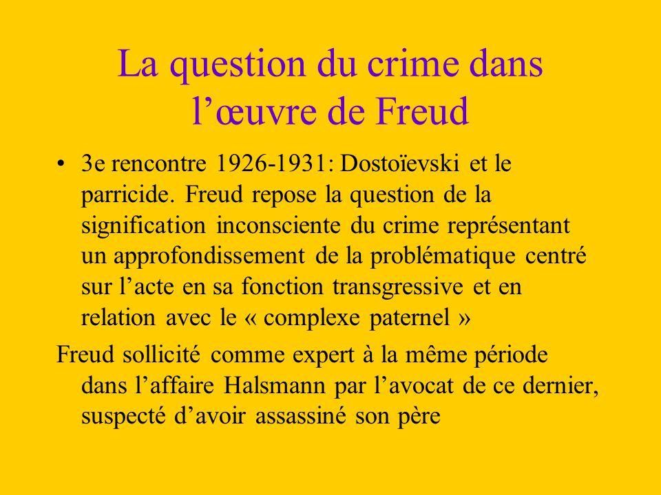 La question du crime dans l'œuvre de Freud 3e rencontre 1926-1931: Dostoïevski et le parricide. Freud repose la question de la signification inconscie