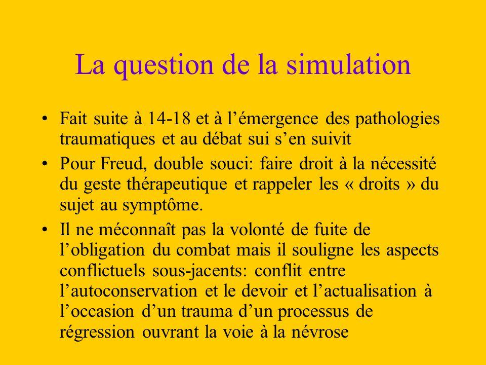La question de la simulation Fait suite à 14-18 et à l'émergence des pathologies traumatiques et au débat sui s'en suivit Pour Freud, double souci: fa