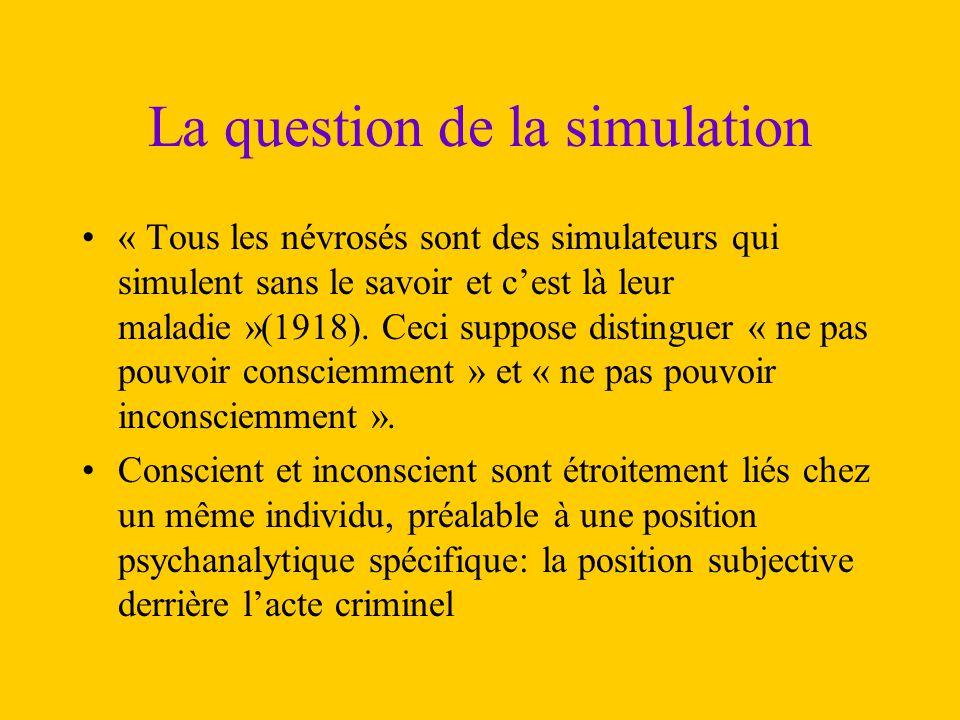 La question de la simulation « Tous les névrosés sont des simulateurs qui simulent sans le savoir et c'est là leur maladie »(1918). Ceci suppose disti