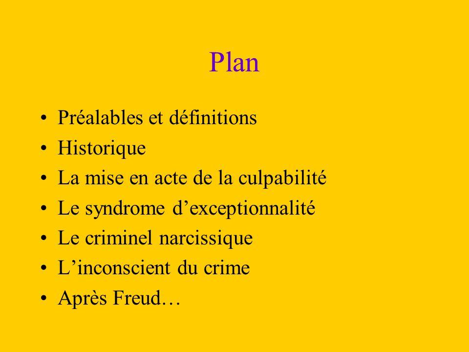 Plan Préalables et définitions Historique La mise en acte de la culpabilité Le syndrome d'exceptionnalité Le criminel narcissique L'inconscient du cri