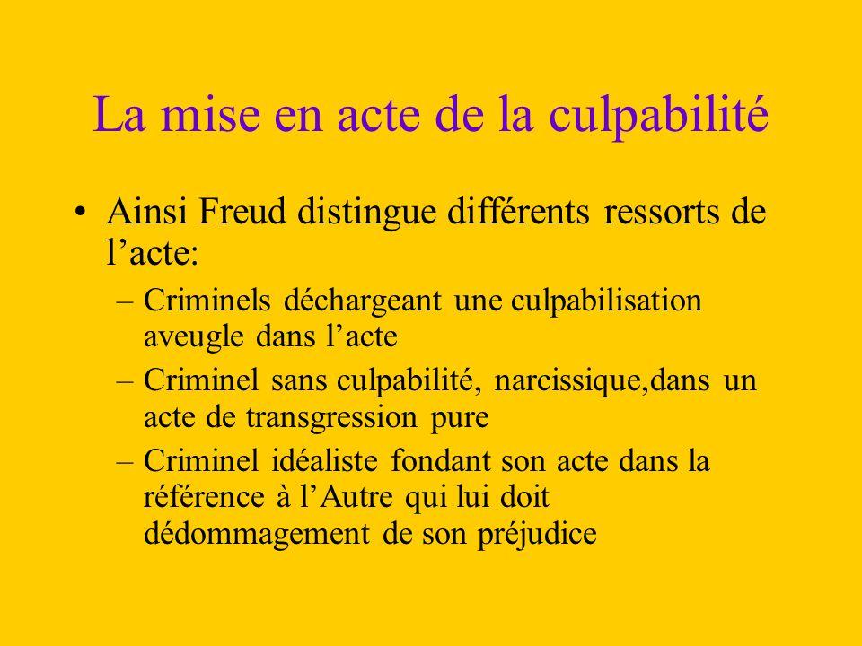 La mise en acte de la culpabilité Ainsi Freud distingue différents ressorts de l'acte: –Criminels déchargeant une culpabilisation aveugle dans l'acte