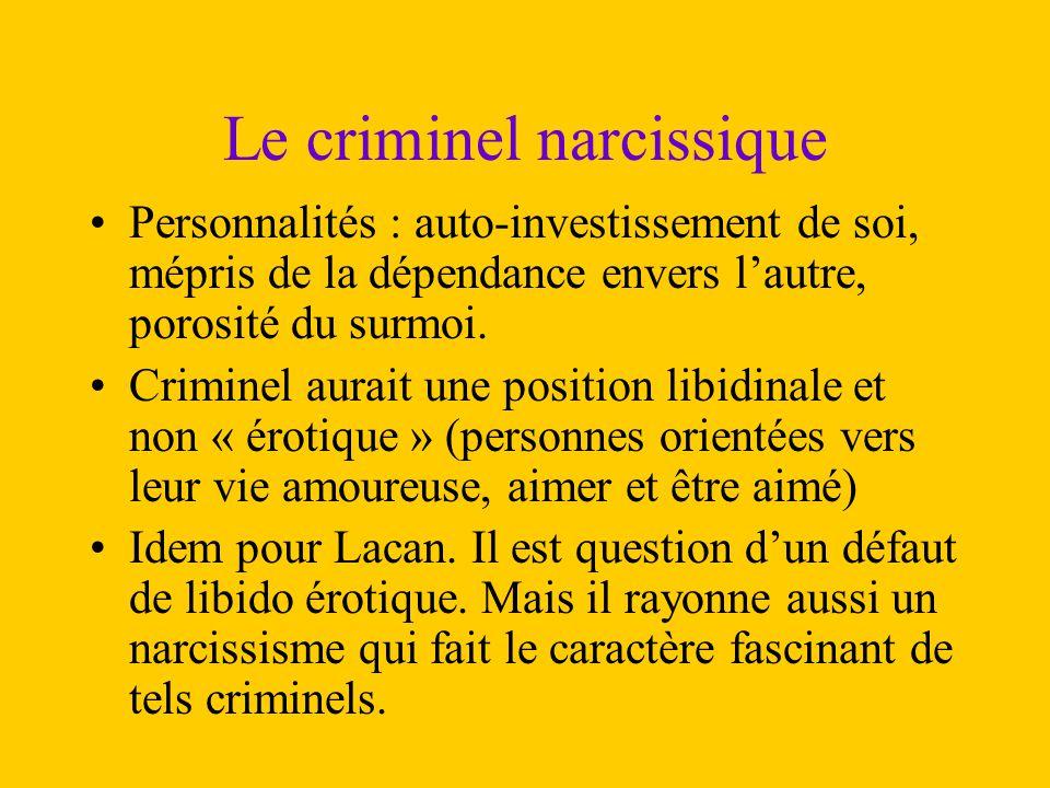 Le criminel narcissique Personnalités : auto-investissement de soi, mépris de la dépendance envers l'autre, porosité du surmoi. Criminel aurait une po