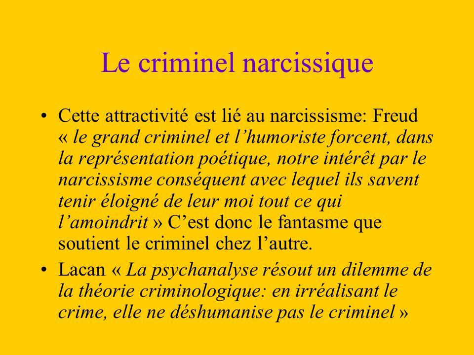 Le criminel narcissique Cette attractivité est lié au narcissisme: Freud « le grand criminel et l'humoriste forcent, dans la représentation poétique,