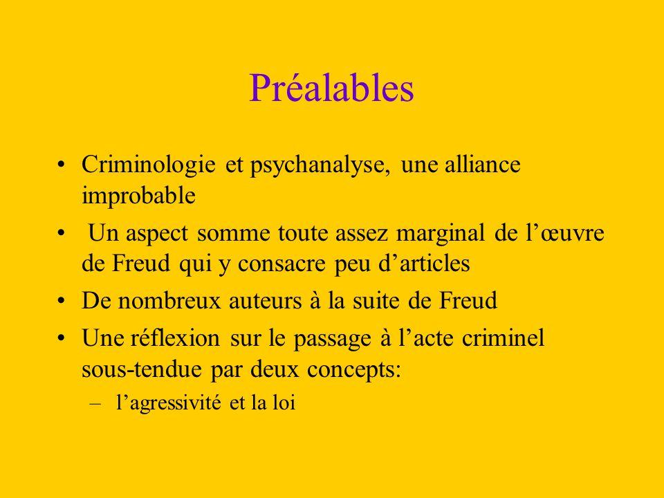 Préalables Criminologie et psychanalyse, une alliance improbable Un aspect somme toute assez marginal de l'œuvre de Freud qui y consacre peu d'article