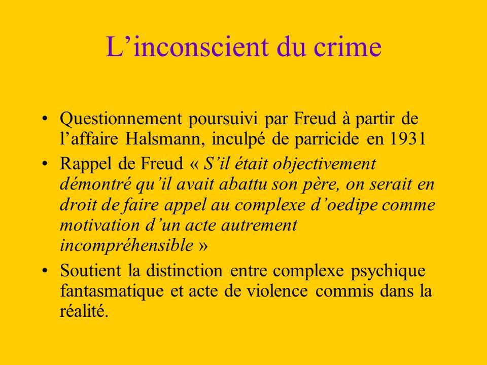 L'inconscient du crime Questionnement poursuivi par Freud à partir de l'affaire Halsmann, inculpé de parricide en 1931 Rappel de Freud « S'il était ob
