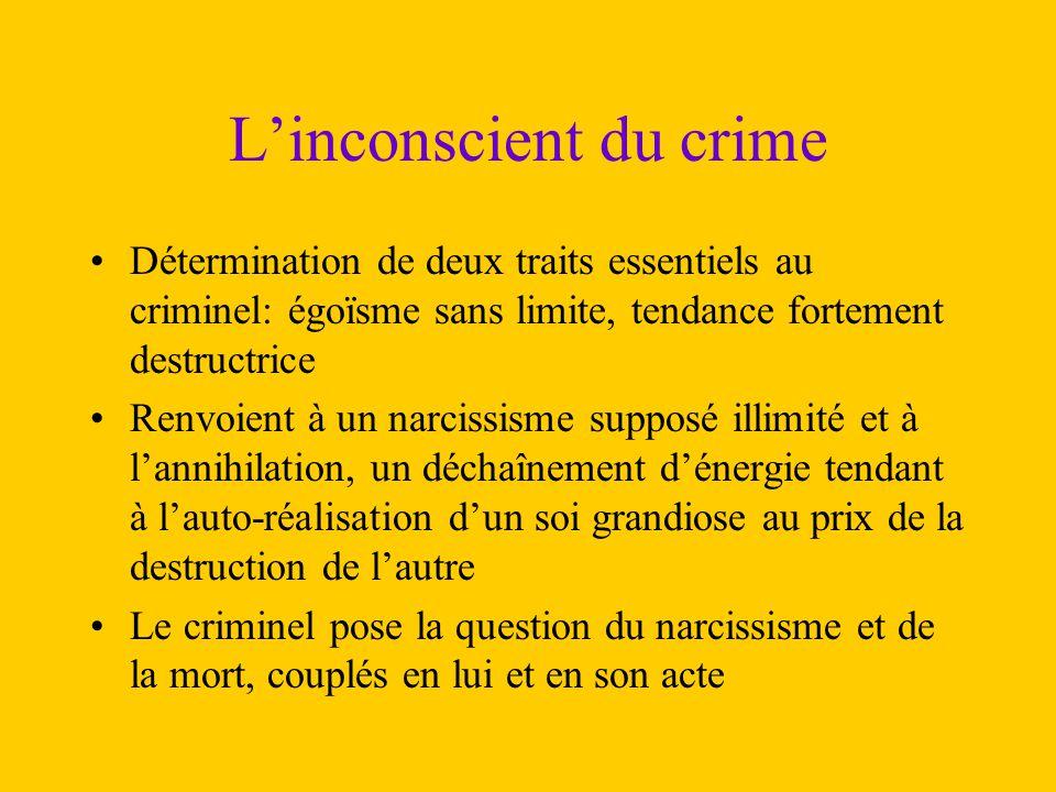 L'inconscient du crime Détermination de deux traits essentiels au criminel: égoïsme sans limite, tendance fortement destructrice Renvoient à un narcis