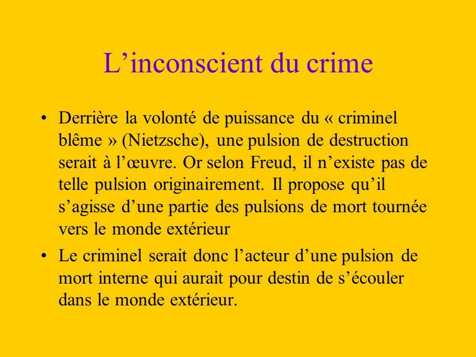 L'inconscient du crime Derrière la volonté de puissance du « criminel blême » (Nietzsche), une pulsion de destruction serait à l'œuvre. Or selon Freud
