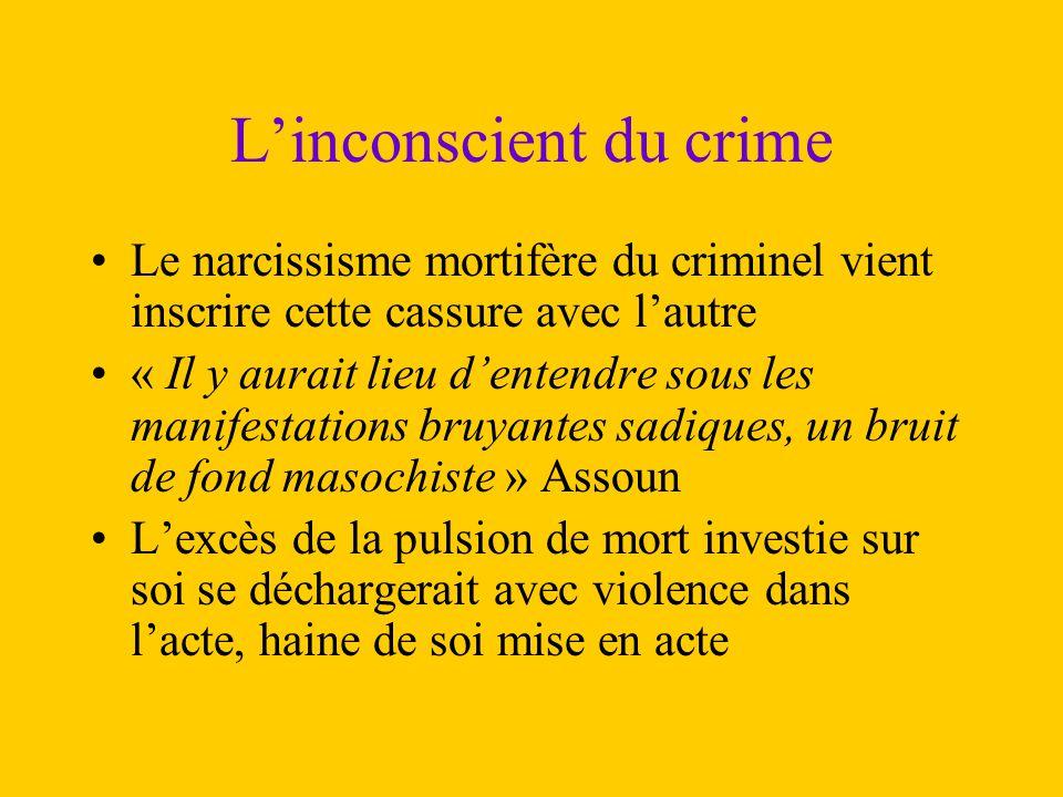 L'inconscient du crime Le narcissisme mortifère du criminel vient inscrire cette cassure avec l'autre « Il y aurait lieu d'entendre sous les manifesta