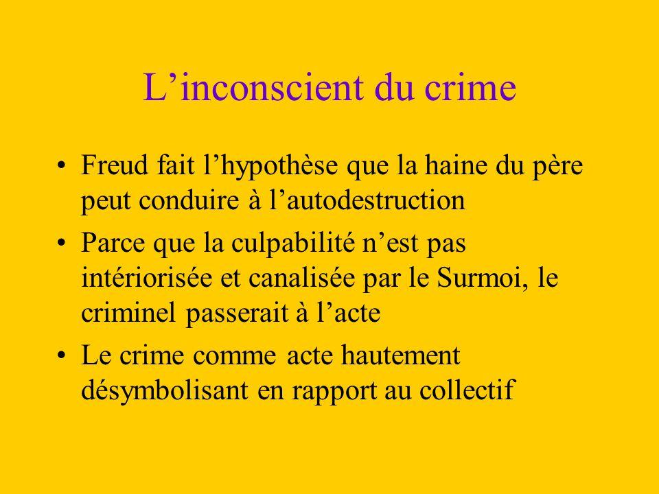 L'inconscient du crime Freud fait l'hypothèse que la haine du père peut conduire à l'autodestruction Parce que la culpabilité n'est pas intériorisée e