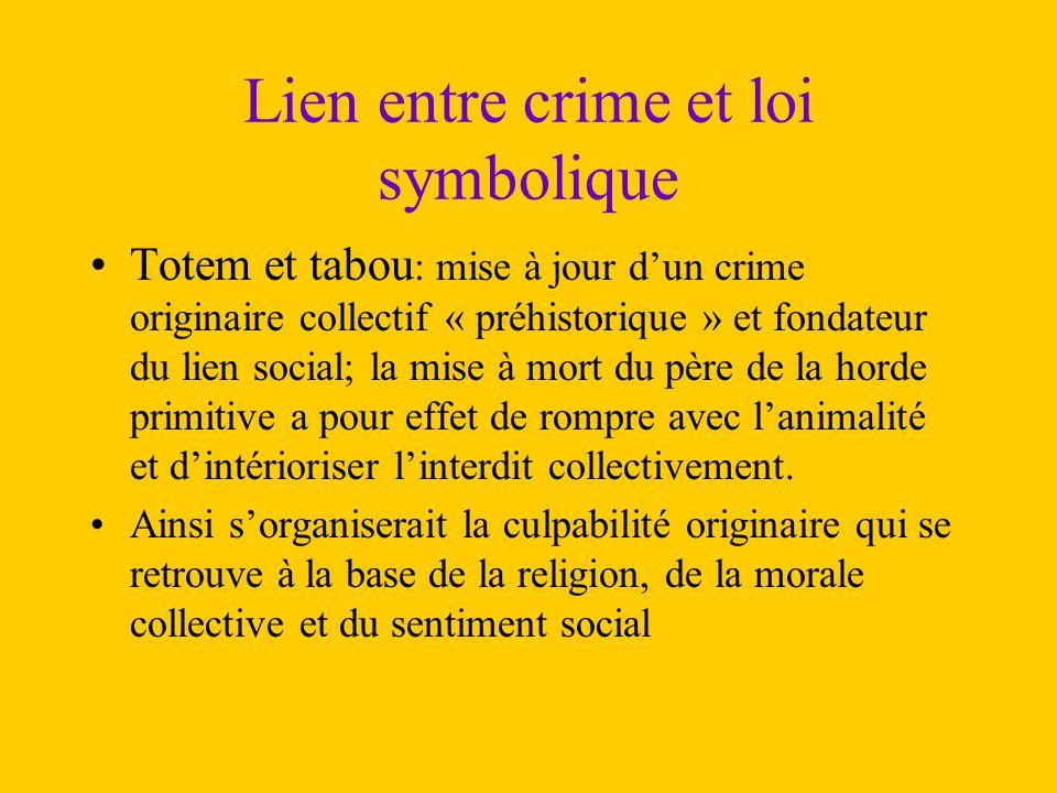 Lien entre crime et loi symbolique Totem et tabou : mise à jour d'un crime originaire collectif « préhistorique » et fondateur du lien social; la mise