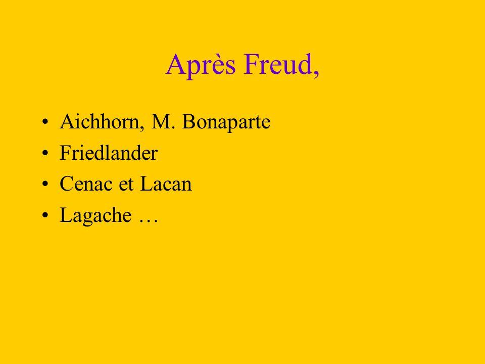 Après Freud, Aichhorn, M. Bonaparte Friedlander Cenac et Lacan Lagache …