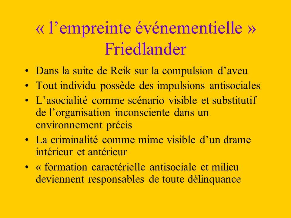 « l'empreinte événementielle » Friedlander Dans la suite de Reik sur la compulsion d'aveu Tout individu possède des impulsions antisociales L'asociali