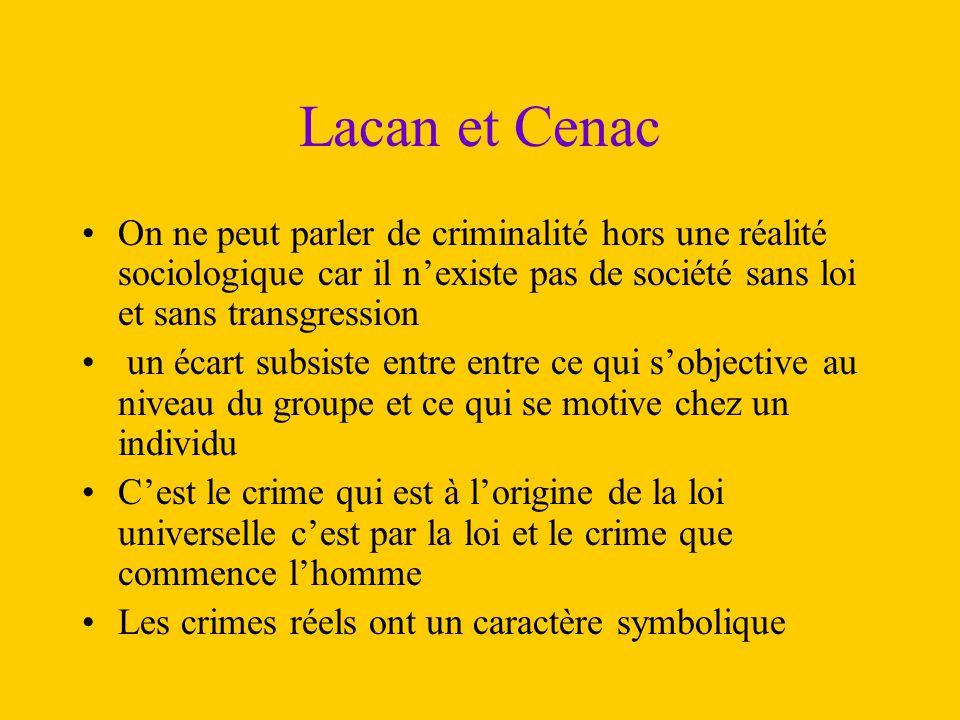 Lacan et Cenac On ne peut parler de criminalité hors une réalité sociologique car il n'existe pas de société sans loi et sans transgression un écart s