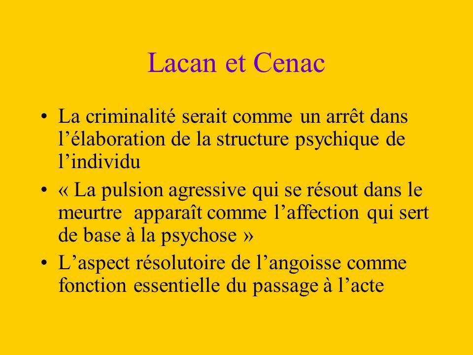 Lacan et Cenac La criminalité serait comme un arrêt dans l'élaboration de la structure psychique de l'individu « La pulsion agressive qui se résout da