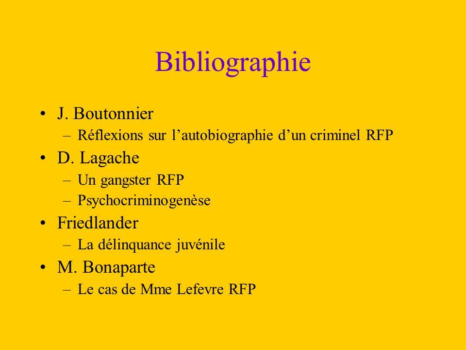 Bibliographie J. Boutonnier –Réflexions sur l'autobiographie d'un criminel RFP D. Lagache –Un gangster RFP –Psychocriminogenèse Friedlander –La délinq