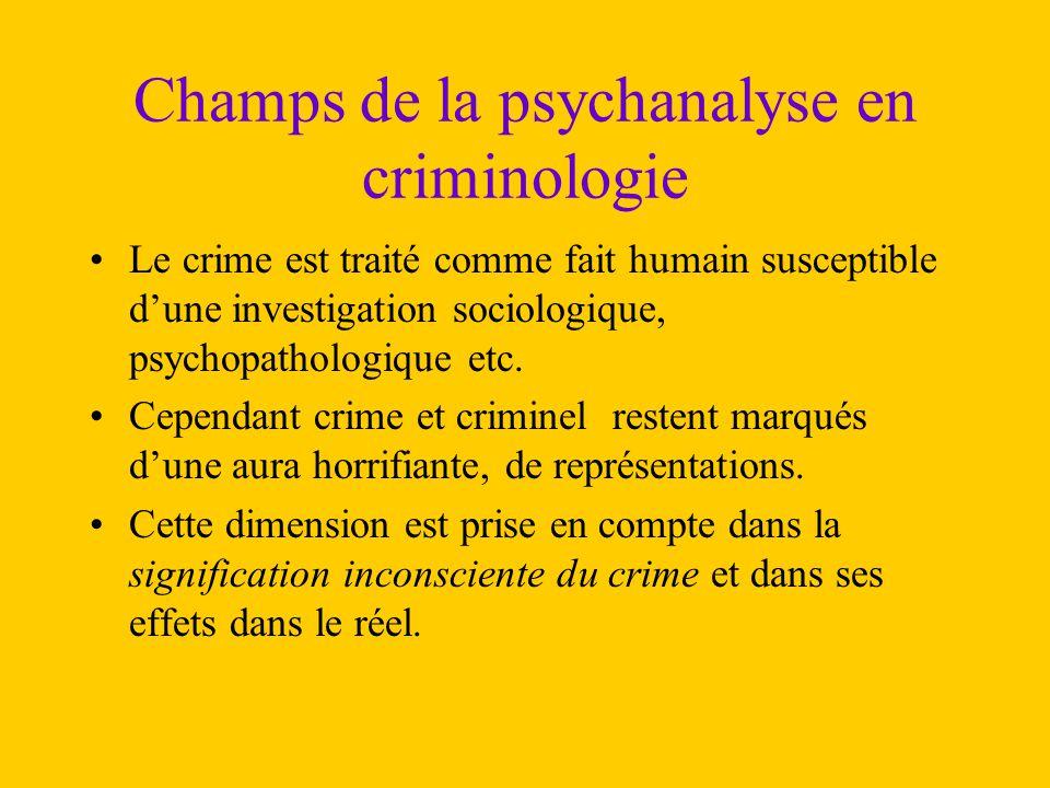 Champs de la psychanalyse en criminologie Le crime est traité comme fait humain susceptible d'une investigation sociologique, psychopathologique etc.